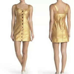 NWT Free People $300 Women 6 Dress Leather Empire Mini Sleeveless Lined Gold